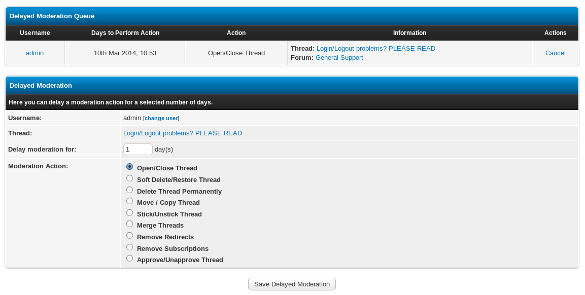Delayed Moderation